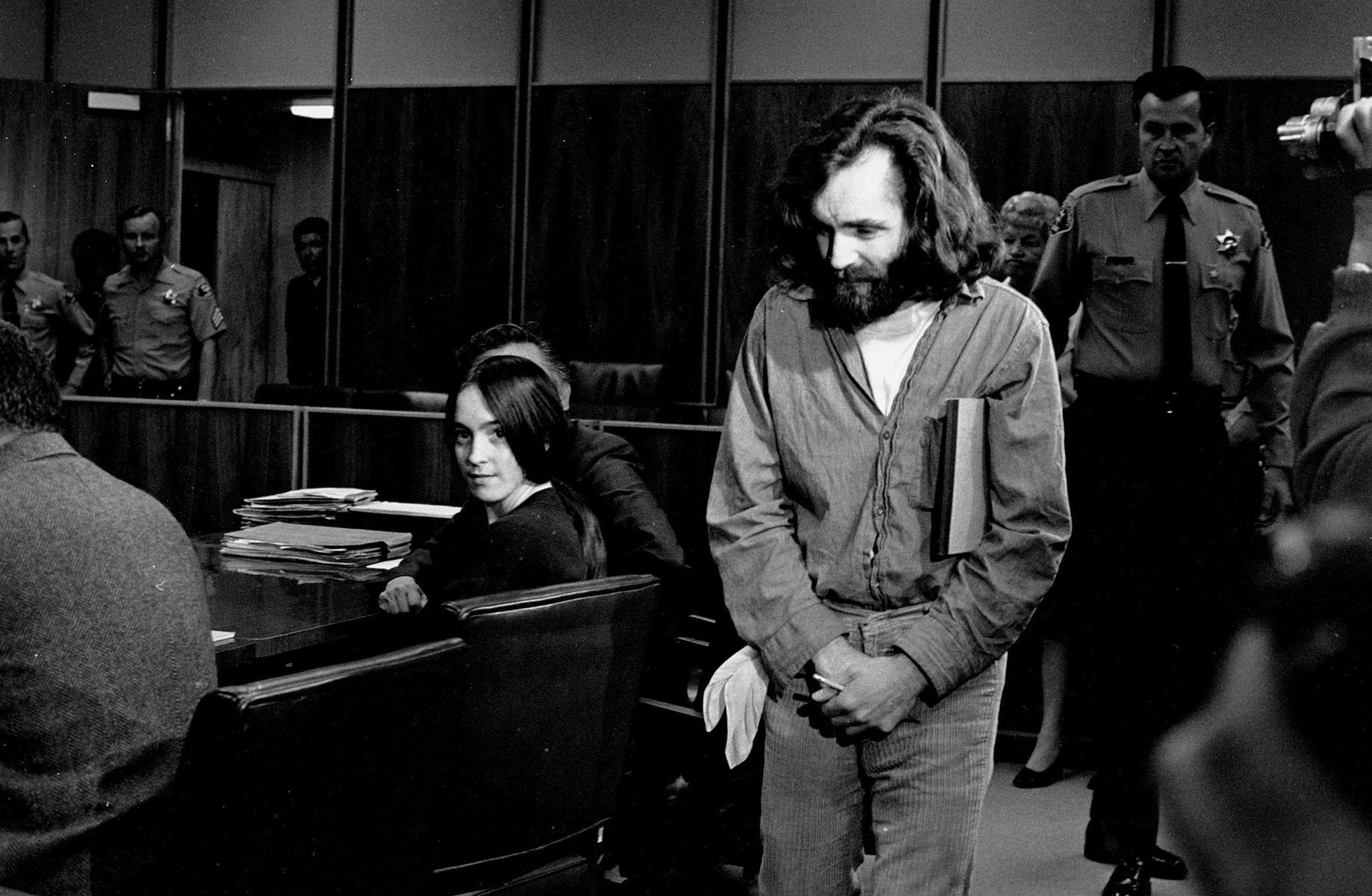 Чарльз Мэнсон всуде, 1970 год.