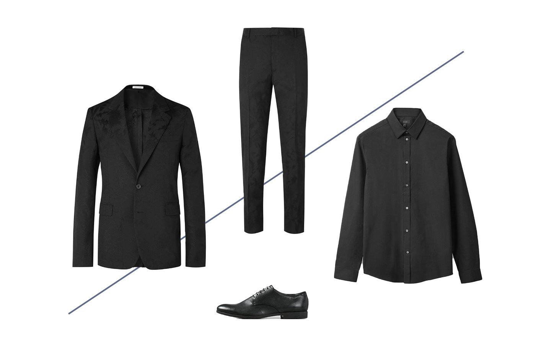 Пиджак Alexander McQueen, £1499; брюки Alexander McQueen, £473; рубашка COS, $89; туфли Vagabond, 9400 руб.