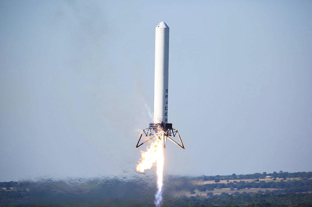 Grasshopper («Кузнечик») – экспериментальная ракета, накоторой инженеры SpaceX отрабатывали взлет ипосадку. Стала основой длясерийных ракет Falcon («Сокол»)