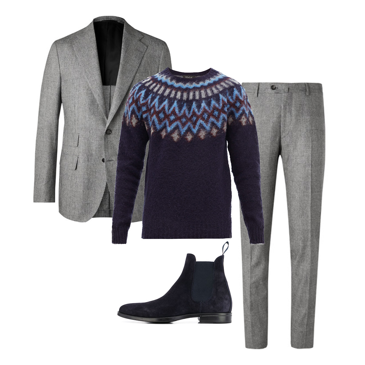 Пиджак De Petrillo, £684; брюки De Petrillo, £225; свитер Howlin', €162; обувь Scarosso, 14788 рублей