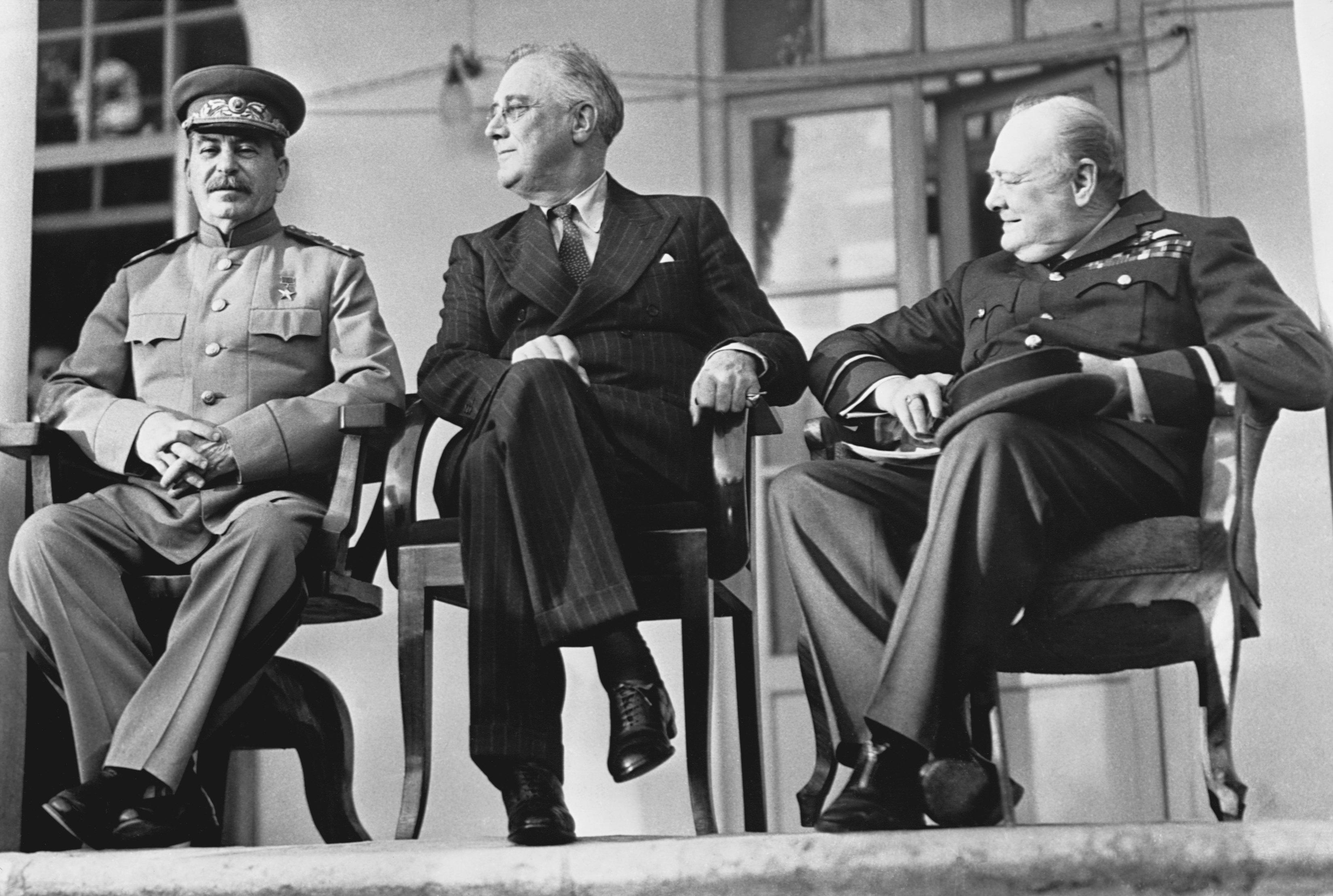 Сталин, Рузвельт иЧерчилль наТегеранской конференции