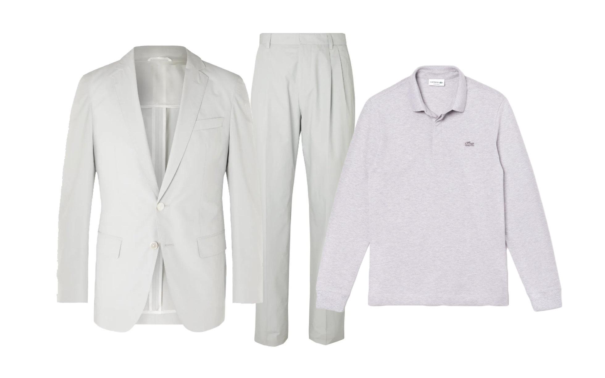 Пиджак Hugo Boss, $645; брюки Hugo Boss, $280; поло Lacoste, 10 480 руб.