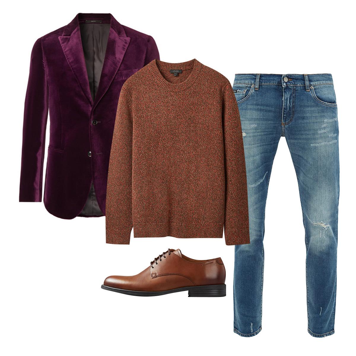 Жакет Paul Smith, £684; свитер COS, €99; джинсы Dolce & Gabbana, €527; обувь Vagabond, 9000 рублей