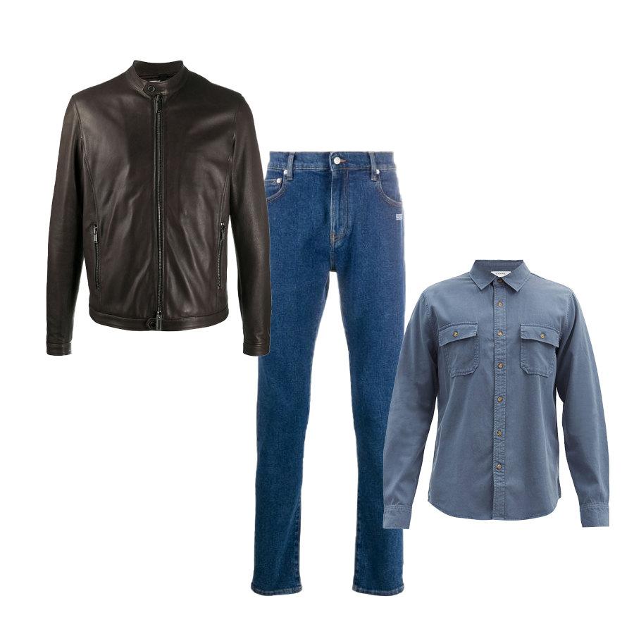 Куртка Tagliatore, 52 249 руб.  рубашка Frame, €193 джинсы Off-White, 32 665 руб.
