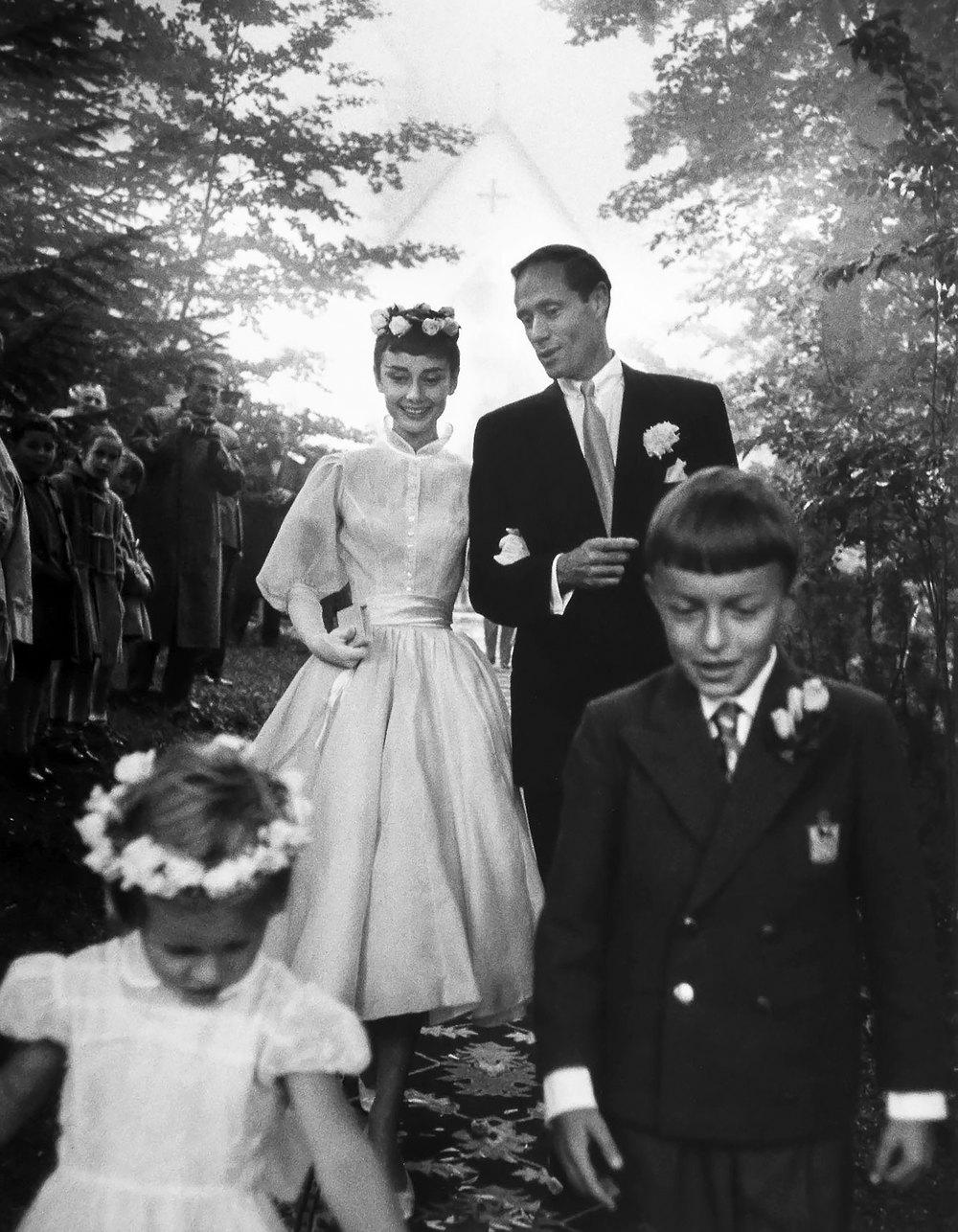 Свадьба Одри Хеберн иМела Феррера, гора Бюргеншток, Швейцария, сентябрь 1954