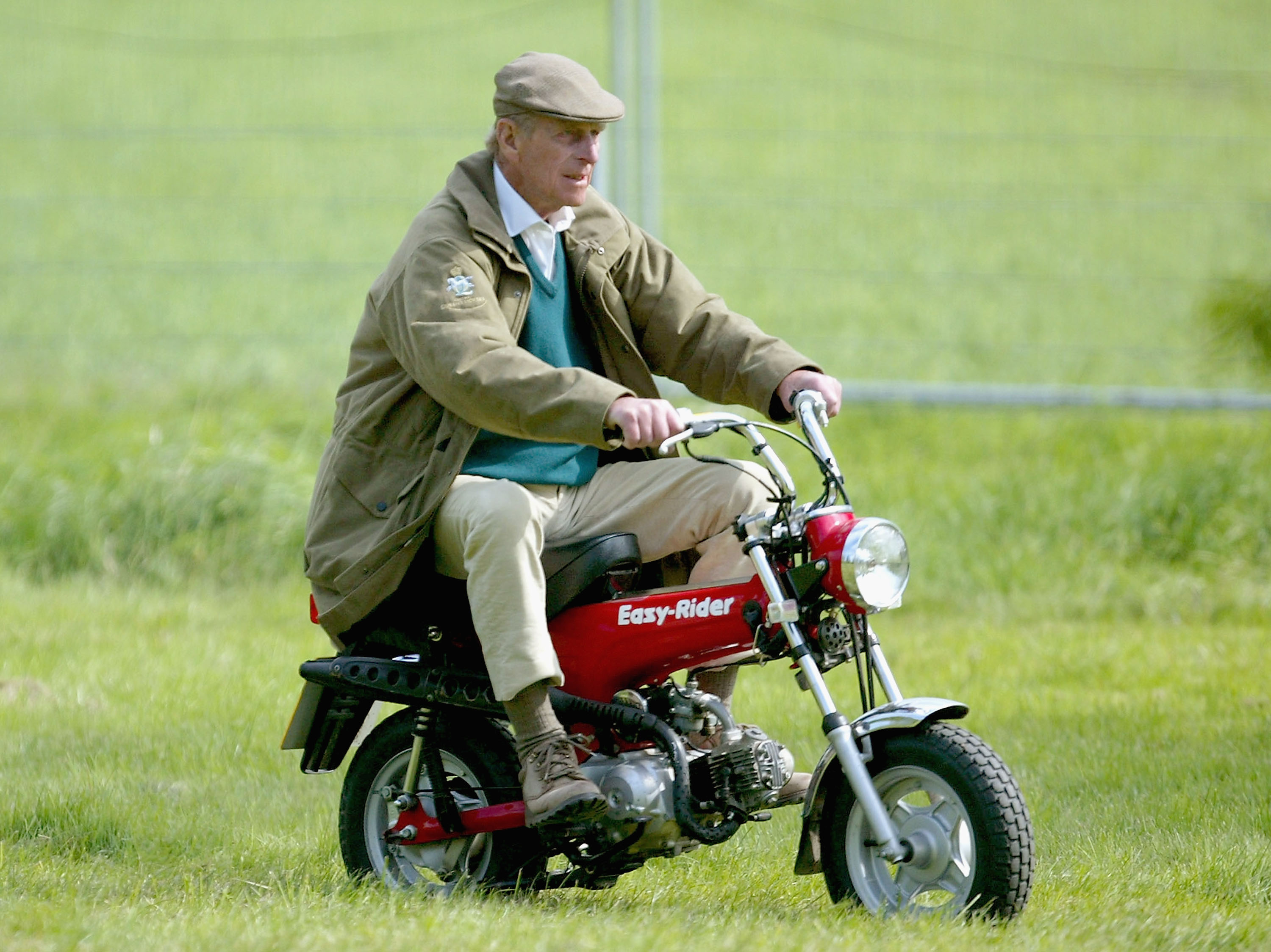 Royal Windsor Horse Show - Day TwoWINDSOR, ENGLAND - MAY 13: HRH The Duke of Edinburgh rides on his mini motorbike during the Royal Windsor Horse Show at Home Park, Windsor Castle on May 13, 2005 in Windsor, England.