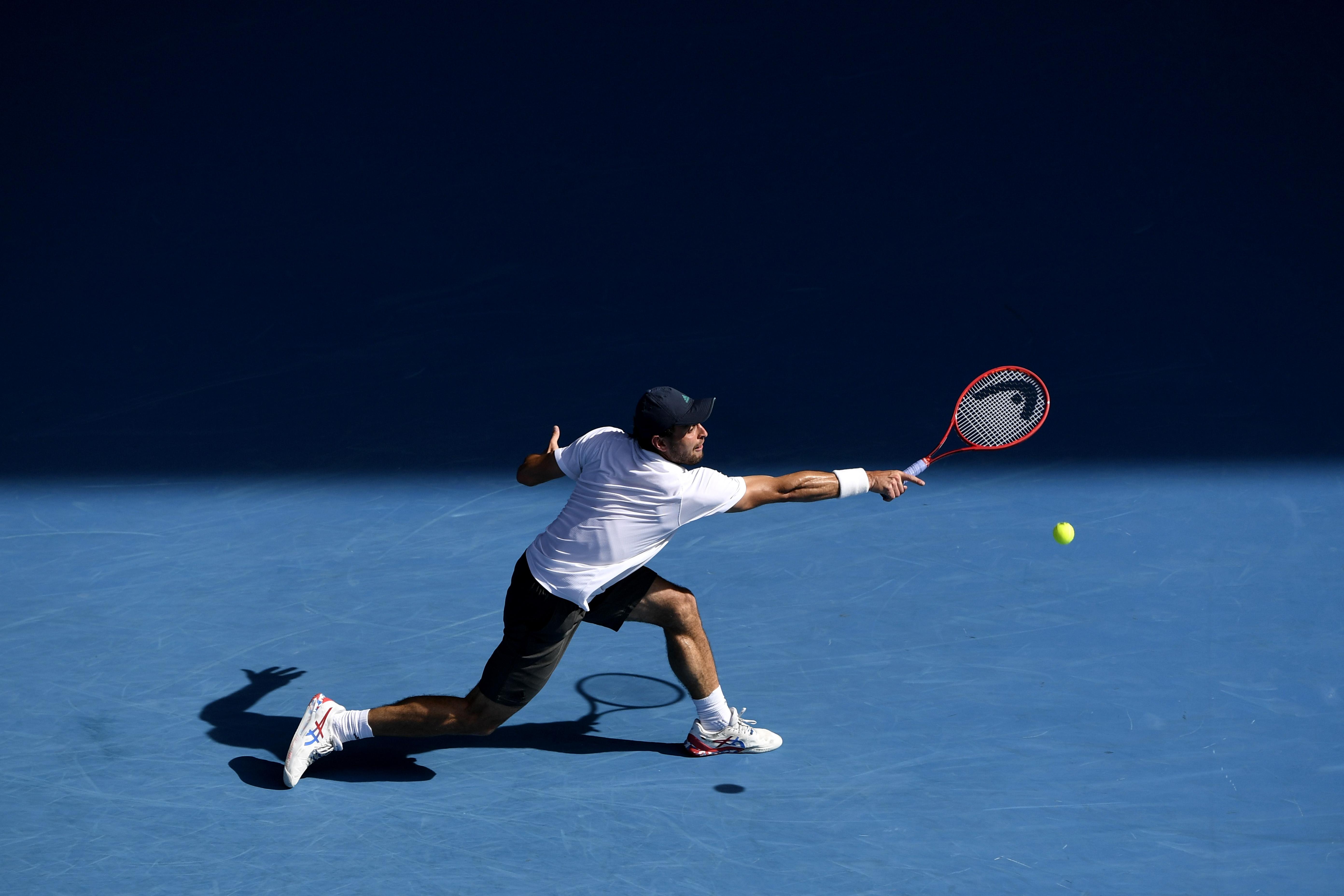 Аслан Карацев натурнире Australian Open, 16 февраля 2021 года.