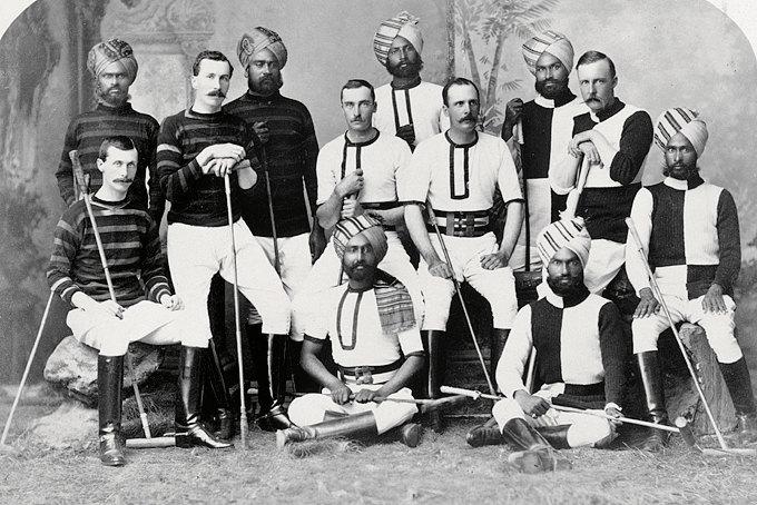 Индийские принцы иофицеры британской армии всоставе хайдарабадской команды пополо, около 1800 года