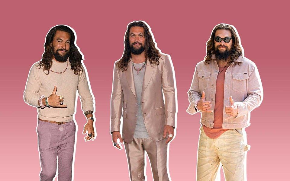 Джейсон Момоа — кхал Дрого иАквамен. Но вжизни он постоянно носит розовый (и снего стоит взять пример)
