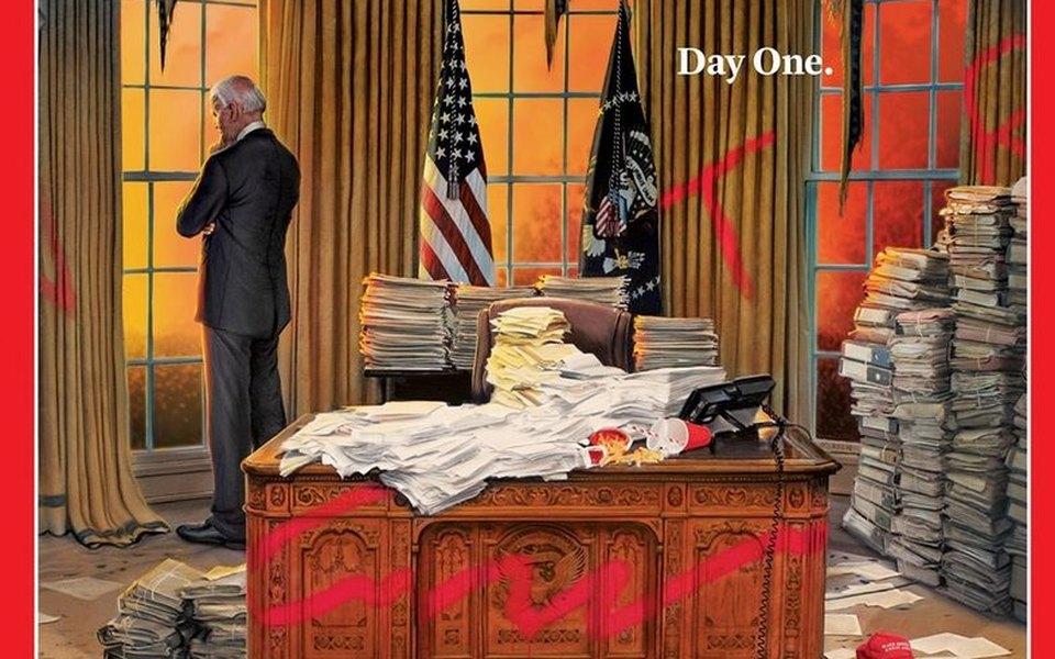 Журнал Time поместил наобложку иллюстрацию первого дня Джо Байдена вдолжности президента США