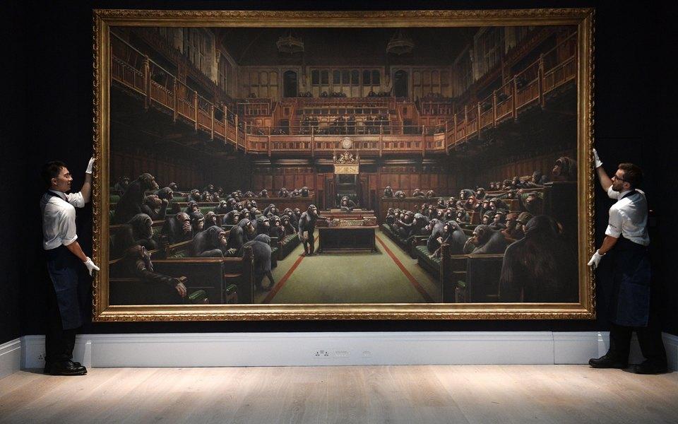 Картину Бэнкси продали наSotheby's за$12 миллионов. Это новый рекорд дляхудожника
