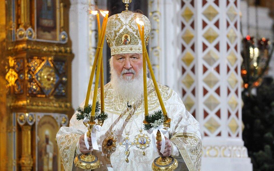Патриарх Кирилл во время рождественского богослужения в раме Христа Спасителя