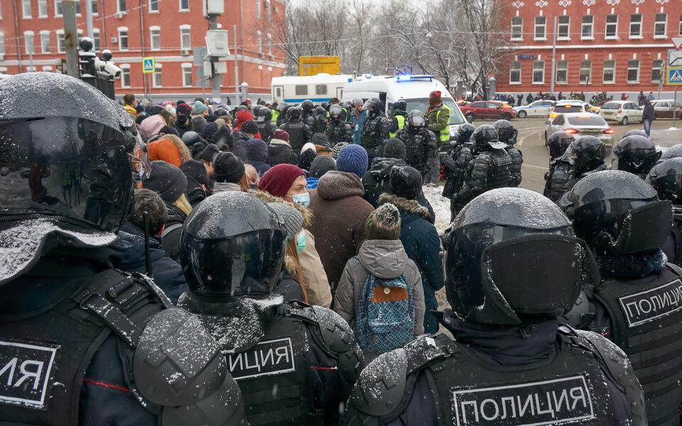 Акция протеста у СИЗО «Матросская тишина» 31 января