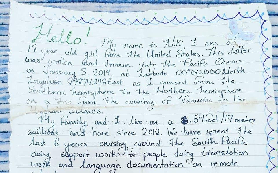 В Папуа — Новой Гвинее нашли бутылку спосланием, брошенную вокеан девушкой изСША более двух лет назад