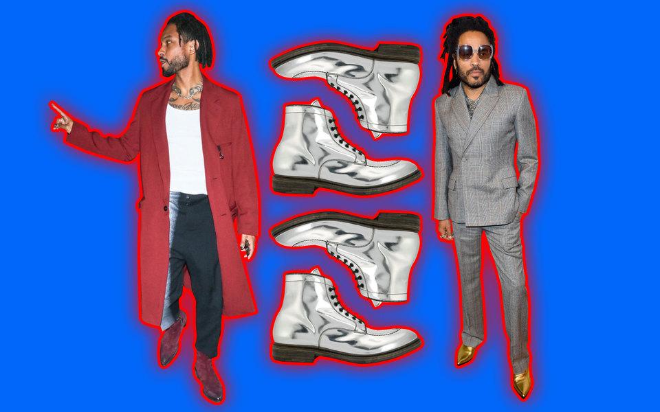 Как сочетать броскую обувь? Снейтральной одеждой — посмотрите наЛенни Кравица иМигеля