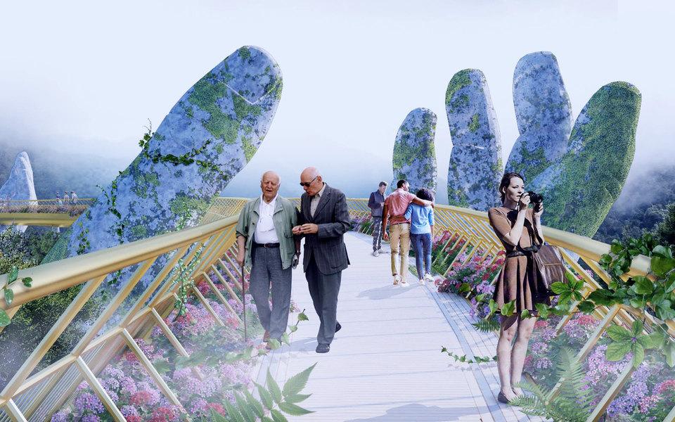 Во Вьетнаме возвели мост надвух гигантских ладонях