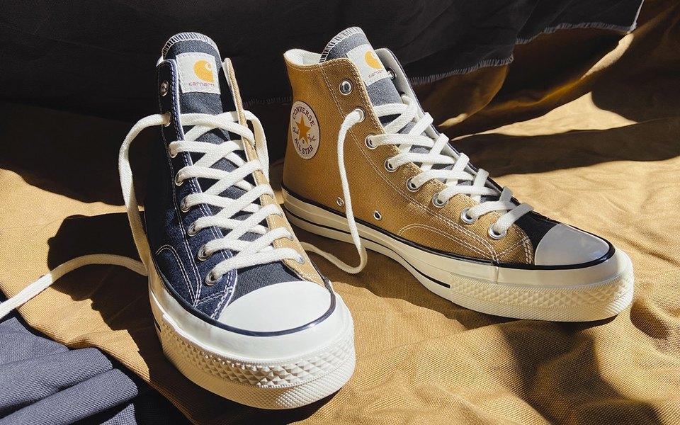 Converse сшили кеды изстарых курток ирабочих комбинезонов Carhartt WIP