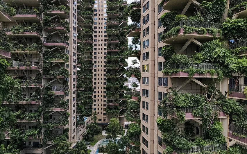 Жилой комплекс в городе Чэнду в Китае, напоминающий городские джунгли