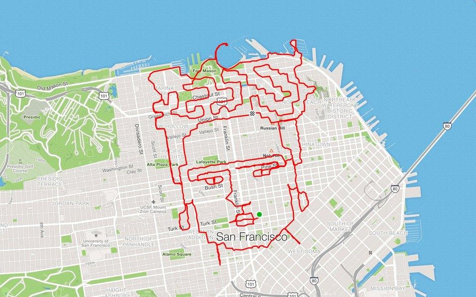 Бегун изСан-Франциско «рисует» накарте города иллюстрации изконтуров своих маршрутов