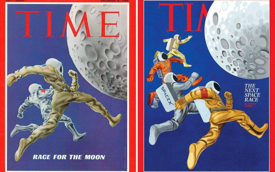 Журнал Time повторил обложку 1968 года спокорением Луны. Но вновой версии нетни России, ни СССР
